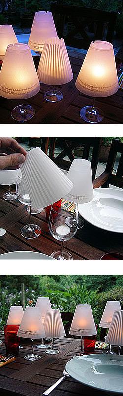 Wijnglas als lamp Geburtstagsdekoration