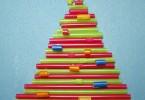 kerstboom van rietjes