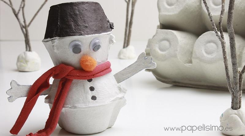 sneeuwpop van eierdoos